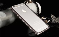 """Бампер металлический для iPhone 6 Plus (5.5"""") черный со стразами - Diamond Black Bumper iPhone 6plus"""
