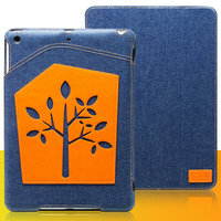 Джинсовый чехол для iPad mini 3 / 2 retina / 1 с нашивкой оранжевое дерево - UEME Dream Tree Jeans Smart Case