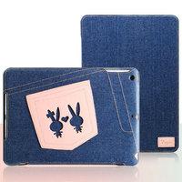 Джинсовый чехол для iPad Air с нашивкой розовые зайцы - UEME Rabbit Jeans Smart Case