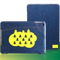 Джинсовый чехол для iPad Air с нашивкой зеленые елки - UEME Christmas Tree Jeans Smart Case