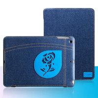 Джинсовый чехол для iPad Air с нашивкой голубая роза - UEME Blue Rose Jeans Smart Case