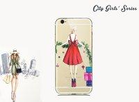 Чехол накладка для iPhone 5s / SE / 5 девушка в красном