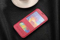 Чехол книга для Samsung Galaxy S5 с окошком красный