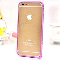 """Алюминиевый бампер со стразами для iPhone 6 (4.7"""") ультратонкий 0.7 мм розовый"""