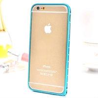 """Алюминиевый бампер со стразами для iPhone 6 (4.7"""") ультратонкий 0.7 мм голубой"""