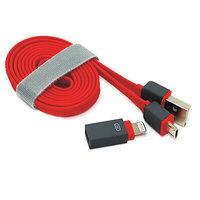Красный кабель 2 in 1 Micro USB + Lightning для iPhone 6 / 6 plus / 5s / 5c,  iPad Air, Samsung, LG