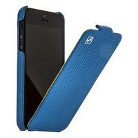 Кожаный чехол для iPhone 5s / SE / 5 HOCO Lizard pattern Leather Case Blue