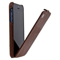 Кожаный чехол для iPhone 5s / SE / 5 HOCO Lizard pattern Leather Case Brown