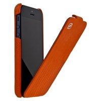 Кожаный чехол для iPhone 5s / SE / 5 HOCO Lizard pattern Leather Case Orange