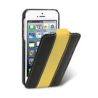 Кожаный чехол Melkco для iPhone 5s / SE / 5 черный с желтой полосой - Leather Case Limited Edition Black/Yellow