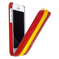 Кожаный чехол Melkco для iPhone 5s / SE / 5 красный с желтой полосой - Leather Case Limited Edition Red/Yellow