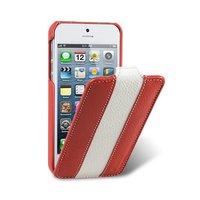Кожаный чехол Melkco для iPhone 5s / SE / 5 красный с белой полосой - Leather Case Limited Edition Red/White