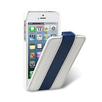 Кожаный чехол Melkco для iPhone 5s / SE / 5 белый с синей полосой - Leather Case Limited Edition White/Blue