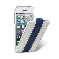 Кожаный чехол Melkco для iPhone 5s / SE / 5 белый с синей полосой - Leather Case Limited Edition White/Blue