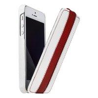 Кожаный чехол Melkco для iPhone 5s / SE / 5 белый с красной полосой - Leather Case Limited Edition White/Red