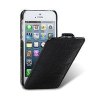 Кожаный чехол Melkco для iPhone 5s / SE / 5 - Jacka Type Crocodile Black черный крокодил