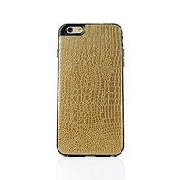 """Золотой силиконовый чехол для iPhone 6 Plus / 6s Plus (5.5"""") кожа крокодила"""