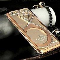 "Чехол накладка-бампер металлический для iPhone 6 (4.7"") золото со стразами - Diamond Gold Case iPhone 6"