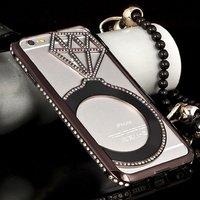 """Чехол накладка-бампер металлический для iPhone 6 (4.7"""") черный со стразами - Diamond Black Case iPhone 6"""