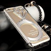 """Чехол накладка-бампер металлический для iPhone 6 (4.7"""") серебряный со стразами - Diamond Silver Case iPhone 6"""