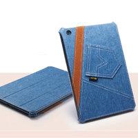 Джинсовый чехол для iPad mini 3 / 2 retina / 1 голубой с коричневой полосой - UEME Tapered Jeans Smart Case