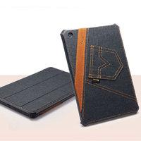Джинсовый чехол для iPad mini 3 / 2 retina / 1 черный с коричневой полосой - UEME Tapered Jeans Smart Case