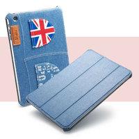 Джинсовый чехол для iPad mini 3 / 2 retina / 1 голубой с карманами флаг Великобритании - UEME UK Jeans Smart Case