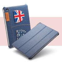 Джинсовый чехол для iPad mini 3 / 2 retina / 1 синий с карманами флаг Великобритании - UEME UK Jeans Smart Case
