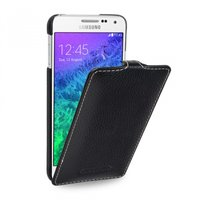Черный кожаный чехол для Samsung Galaxy Alpha - Sipo V-series Leather Case Black
