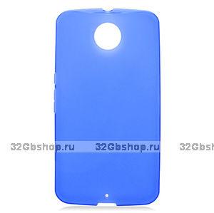 Синий матовый силиконовый чехол для Goole Nexus 6