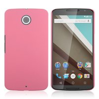 Матовый пластиковый чехол для Goole Nexus 6 розовый с покрытием soft touch