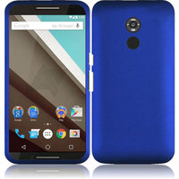 Матовый пластиковый чехол для Goole Nexus 6 синий с покрытием soft touch