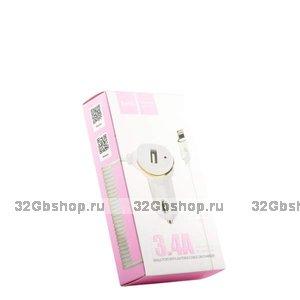 Автомобильная зарядка Hoco Z14 для iPhone  - 2100 mAh - белая