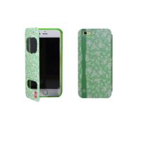 """Чехол книжка для iPhone 6 / 6s (4.7"""") цветы мятный"""