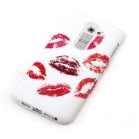 Белый силиконовый чехол для LG G2 с рисунком отпечатки губ с помадой