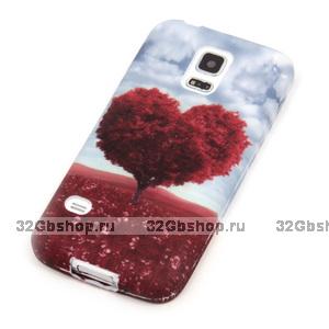 Чехол силиконовый для Samsung Galaxy S5 mini сердце и облака