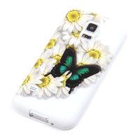 Чехол силиконовый для Samsung Galaxy S5 mini бабочка и цветы