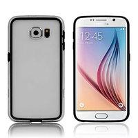 Силиконовый бампер для Samsung Galaxy S6 черный с прозрачной полосой