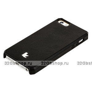 Накладка Jisoncase для iPhone 5s / SE / 5 цвет черный натуральная кожа