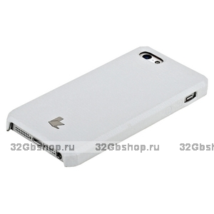 Накладка Jisoncase для iPhone 5s / SE / 5  цвет белый натуральная кожа