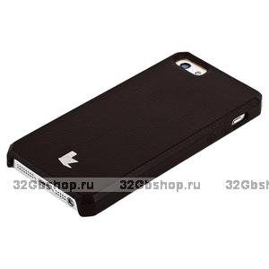 Накладка Jisoncase для iPhone 5s / SE / 5 цвет коричневый натуральная кожа