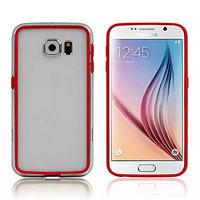 Красный силиконовый бампер для Samsung Galaxy S6 с прозрачной полосой