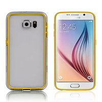 Желтый силиконовый бампер для Samsung Galaxy S6 с прозрачной полосой