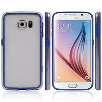 Синий силиконовый бампер для Samsung Galaxy S6 с прозрачной полосой