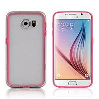 Розовый силиконовый бампер для Samsung Galaxy S6 с прозрачной полосой