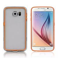 Оранжевый силиконовый бампер для Samsung Galaxy S6 с прозрачной полосой