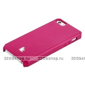 Накладка Jisoncase для iPhone 5s / SE / 5 - ярко-розовая натуральная кожа