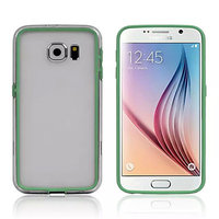 Зеленый бампер для Samsung Galaxy S6 с прозрачной полосой