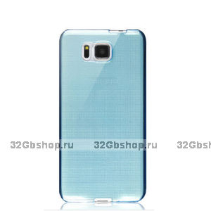 Голубой прозрачный силиконовый чехол для Samsung Galaxy Alpha ультратонкий