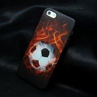 Пластиковый чехол накладка для iPhone 5s / SE / 5 футбольный мяч в огне